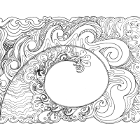 Koru hand-drawn in ink