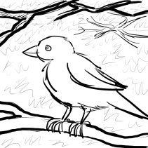 Sparrow with bolder branches and sketchy leafy background